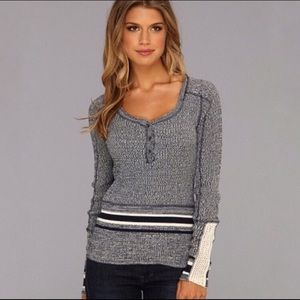 We The Free Sock Monkey Henley Marled Thermal Top